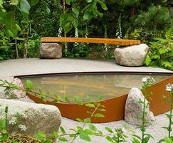 Raised garden level with structural metalwork
