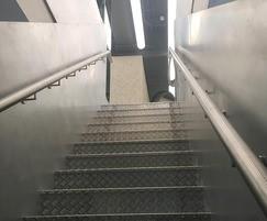 Polished aluminum staircase