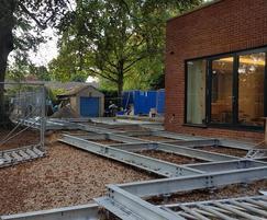 Steel beam base under construction
