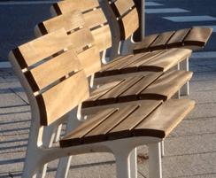 Seat and backrest made of hardwood slats 30mm thick