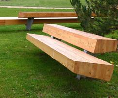 Two Glulam beams make up  this large bench