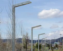 The arm of the 108 street light houses the luminaire