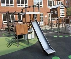 Wood effect playground unit