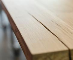 Detail of bespoke solid oak desk