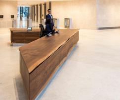 Reception desk, 5m-long, English walnut mitred boards