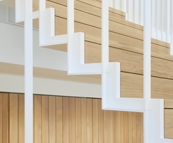 Floating timber and steel staircase
