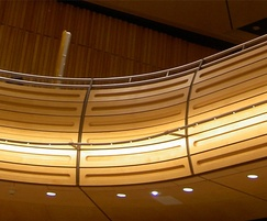 Bespoke curved acoustic panelling in timber