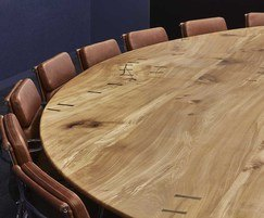Bespoke boardroom table with bog oak butterfly ties
