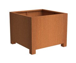 Andes contemporary corten steel planter with feet