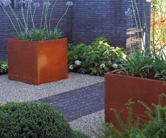 Andes contemporary corten steel outdoor planter