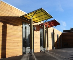 Entrance canopies are available in various colours