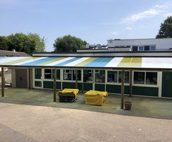 Colourful bespoke teaching canopy for infants' school