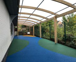 Glulam beam canopy and wetpour for primary school