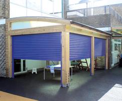 Innovative roller-shutter canopy designs with gutter
