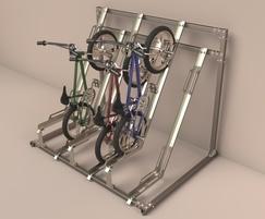 Semi-vertical cycle rack stores bikes at 45° angle