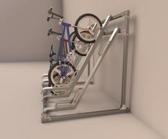 Semi-vertical cycle rack