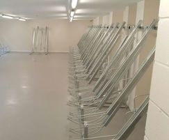 Semi-vertical space-saving bike racks