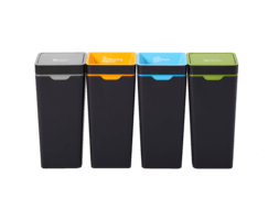 Bins are colour co-ordinated for each waste stream