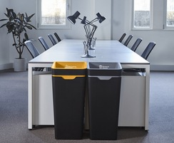 Interior recycling and general waste bins, meeting room