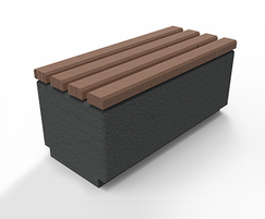 Kerry concrete and wooden bench - small