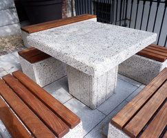 White exposed Kerry concrete table & benches