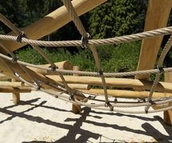 Climbing frame features nets