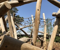 Timber play equipment for climbing and crawling