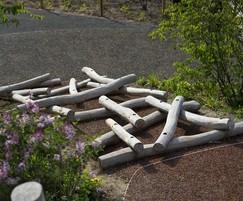 Robinia poles latticed together to make Log Scramble