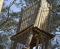 Climbing frame features two platforms