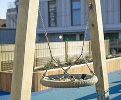 Timber-framed bird's nest swing