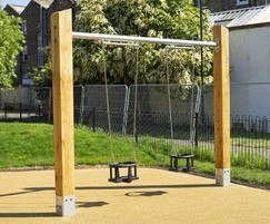 Toddler swing with oak uprights and steel cross beam