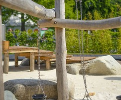 Timber beams and buckets for sensory play