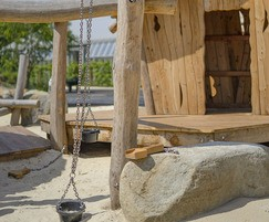 Sensory play area using sand and buckets