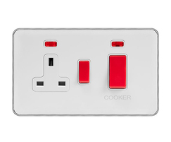 45A Cooker Control Unit & Neon White Inserts Screwless