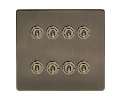 8-gang toggle screwless light switch 20A 2-way