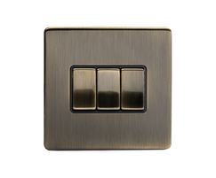 Aged Brass 10A 3-gang 2-way switch with black insert