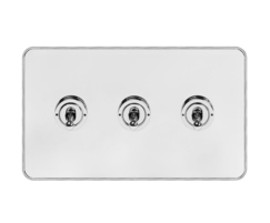 White and polished chrome with chrome edge 20A 3 gang