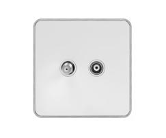 White metal plate with chrome edge TV+ satellite socket