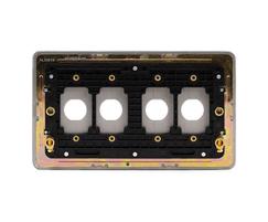 Screwless flat plate white metal 4 gang toggle plate