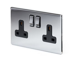 Luxury 2 Gang Double Pole Socket Black Insert 13A