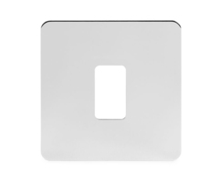 Polished Chrome Flat Plate 1 Gang Grid Plate Screwless