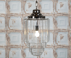 The iconic Glasshouse Nickel Clear Pendant Light