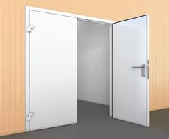 Industrial double leaf steel door