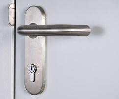 Industrial steel door handle with lock