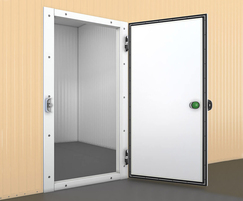 Hinged single leaf refrigerated door open