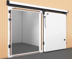 Sliding refrigeration doors