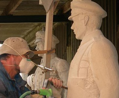 Carver working on the war memorial for Coundon, Durham
