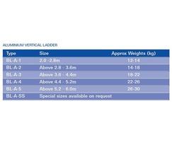 Aluminium vertical ladder specifications