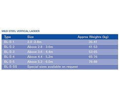 Mild steel vertical ladder specifications