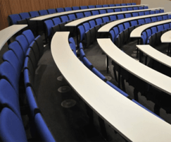 Lecture theatre seating with fixed writing ledges